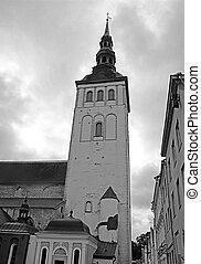 The Church of St. Nicholas in Tallinn, Estonia. Black and white filter
