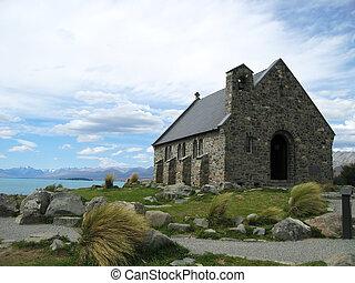 The Church of the good shepherd, a small chapel on the coast of Lake Tekapo, New Zealand