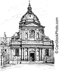 The church of the Sorbonne, vintage engraving.