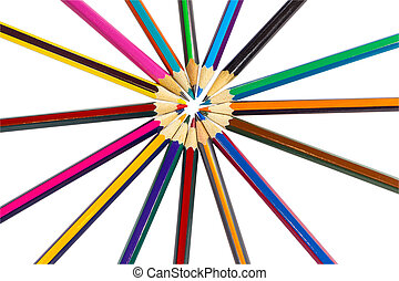 The circle is lined with colored pencils like rays of the sun