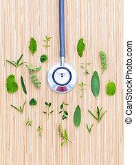 The circle of Herbs leaf and flower with stethoscope on wooden table concept for power of green natural.