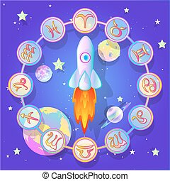 circle of the zodiac in space , vector illustration