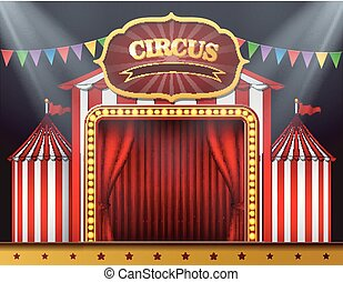 The circus entrance with a red curtain closed