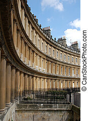 A view of the curved townhomes in the famous Circle in Bath England