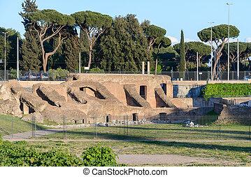 The Circus Maximus ruins, in Italian Circo Massimo