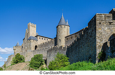 The Citadel in Carcassonne, a medieval fortress in the french department of Aude