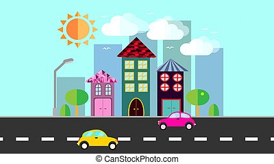The city, a small town in flat style with houses with a sloping tile roof, cars, trees, birds, clouds, sun, road, lantern on a blue background. Vector illustration
