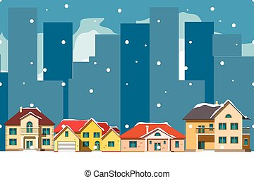The city in christmas. Urban landscape .