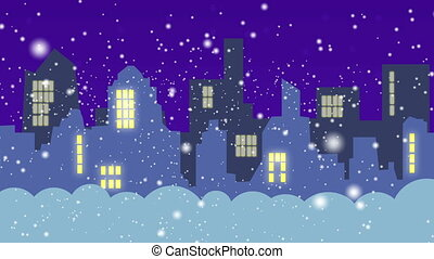 The city in the winter during the night - animation -...
