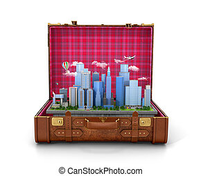 The city is situated in a leather chemodan? open on a white background. 3D illustration