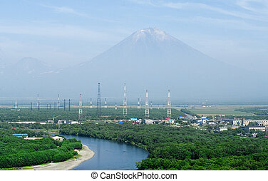 The city landscape of Petropavlovsk-Kamchatsky and Koryaksky volcano, Russia
