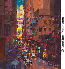 The city lights, evening traffic. digital painting