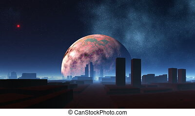 The city of aliens and pulsing UFO