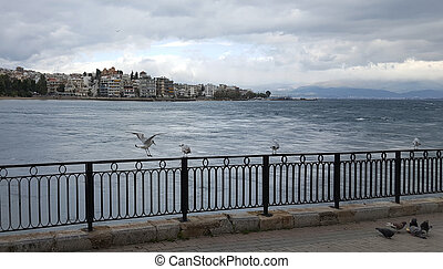 The city of Chalkida, Evia, Greece with dramatic sky