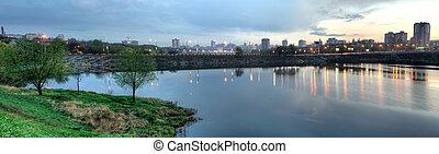 The city of Donetsk night, East Europe, Ukraine