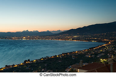 Picture of the city of Kalamata, in southern Greece, photographed right after sunset