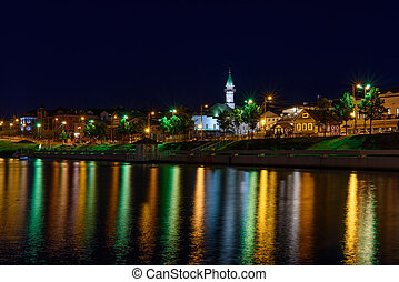 The city of Kazan during a beautiful summer night with colorful lights.
