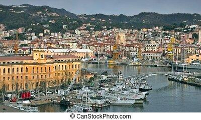 The city of La Spezia harbor and the naval base, Italy - La...