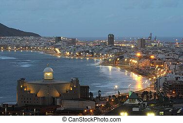 The city of Las Palmas de Gran Canaria at dusk
