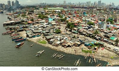 The city of Manila, the capital of the Philippines. - Slums...
