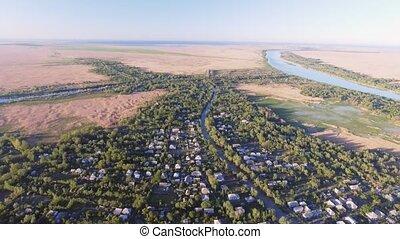The city of Vilkovo, Odessa region, Ukraine, Aerial view at...