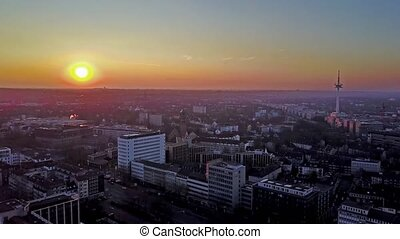 The city skyline of Essen during sunset, aerial - Germany