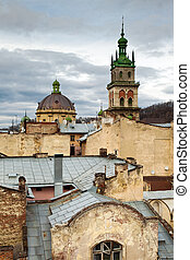 The city view, Lviv, Ukraine - The vertical shot of city...