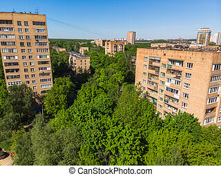 The Cityscape in Khimki city from above. Russia - The ...