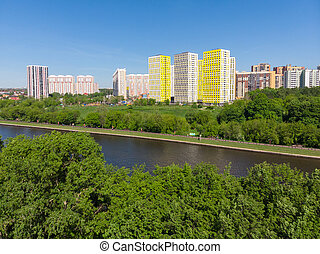 The Cityscape of Levoberezhnyy district in Khimki city. ...
