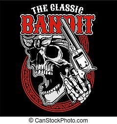 the classic bandit, skull handling gun, hand drawing vector