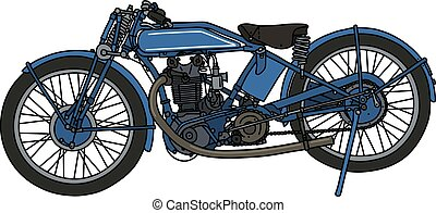The classic blue motorcycle