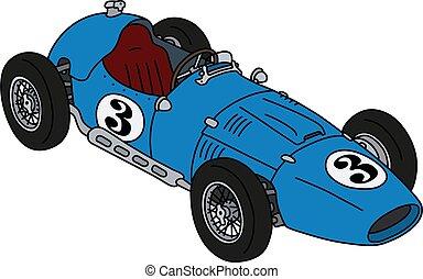The classic blue racecar