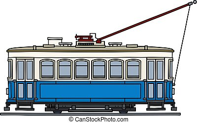 The classic blue tramway - The vectorized hand drawing of a ...