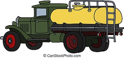 The classic green and yellow tank truck