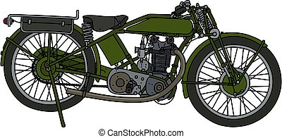 The classic green motorcycle