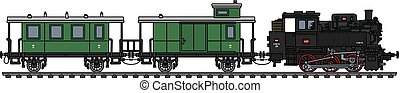 The classic green personal steam train