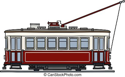 The classic red tramway - The vectorized hand drawing of a ...