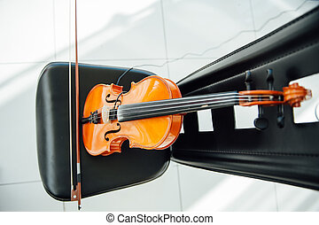 The classic violin was put on chair.