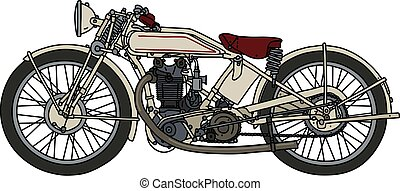 The classic white motorcycle
