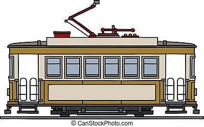 The classic yellow tramway - The vectorized hand drawing of ...