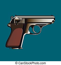 The classical gun on a blue background