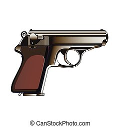 The classical gun on a white background