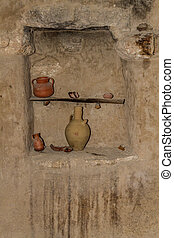 The clay jugs in Nazareth Village, Israel. - The clay jugs,...