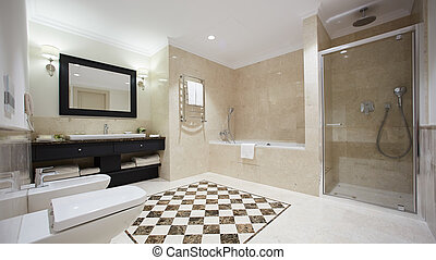 The clean and fresh bathroom in hotel