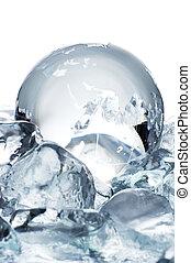 glass globe on ice
