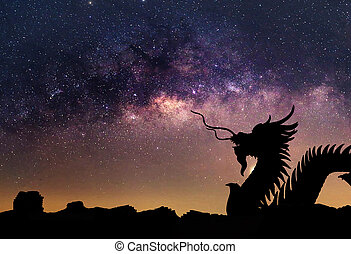 The clearly milky way and silhouette Dragon