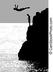 The Cliff Diver - Person diving off of cliff along coastline...