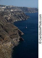 the cliffs at Santorini, Greece