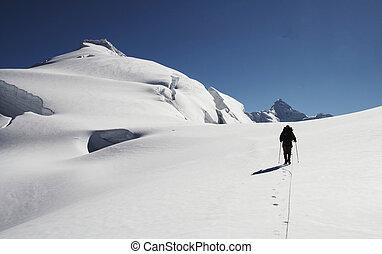 The climb on the Ishinca peak - Silhouette climber on the ...
