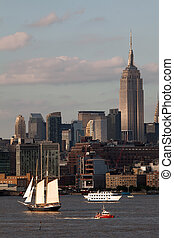 The Clipper City Tall Ship sailing on the Hudson River on...